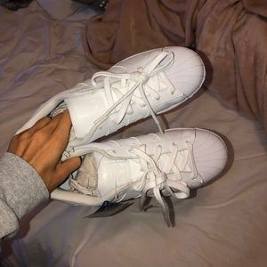 NWT All White Adidas Superstar Shoes